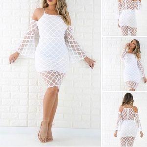 All white midi unique dress